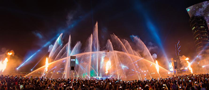 喷泉水景设计之彩色火泉